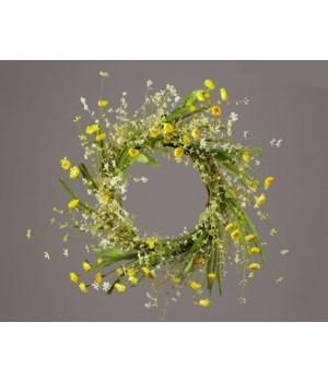 Wreath - Twig, Yellow Straw Flowers, Assorted Foliage