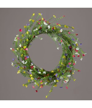 Wreath - Twig, Assorted Color Tiny Flowers 19 in. outside, 10 in. inside