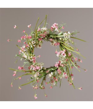 Wreath - Twig Base, Mini Pink Flowers With Assorted Greens