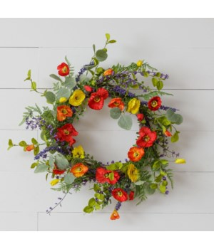 Wreath - Twig Asst Colored Poppies, Sage, Foliage