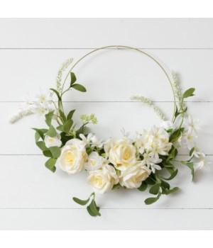 Wreath - Gold Hoop, Cream Rose, White Asst Flowers, Foliage