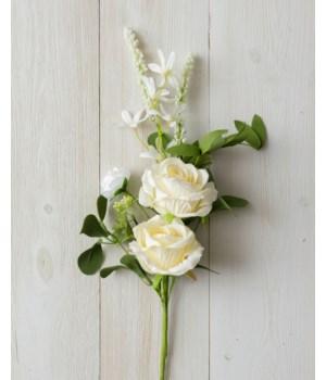 Pick - Cream Rose, White Asst Flowers, Foliage (Pk 2)