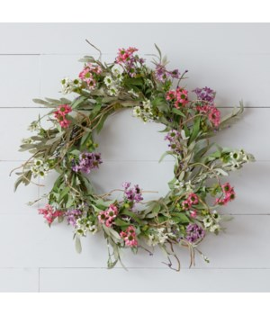 Wreath - Asst Color Mini Daisies, Sage, Foliage