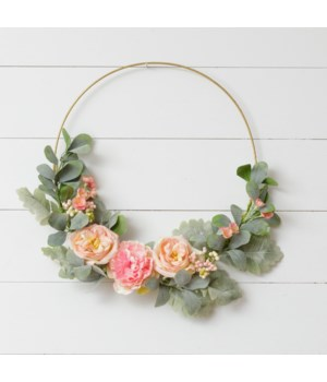 Wreath - Gold Hoop, Peach Roses, Asst Pink Flowers, Foliage