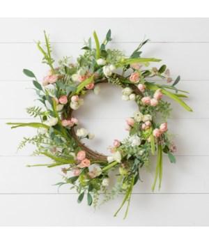 Wreath - Twig, Miniature Roses, Foliage