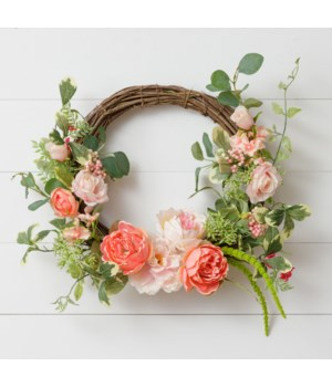 Wreath - Twig, Peonies, Roses, Asst Foliage