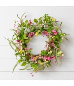 Wreath - Twig, Pansy, Mini Flowers, Foliage