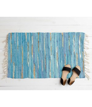 Chindi Rug - Blue & Gold 31 L X 21 W in.