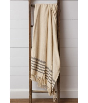 Throw - Cream and Grey with Tassels