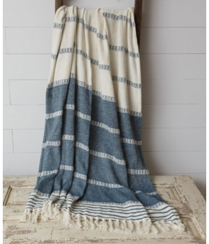 Throw - Woven Stripes With Tassels, Blue