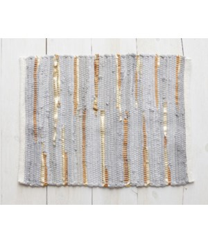 Chindi Placemat - Grey And Gold