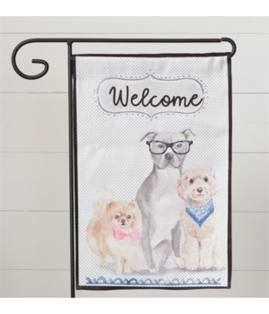 Flag - Playful Pups, Welcome 19 in. x 12 in.