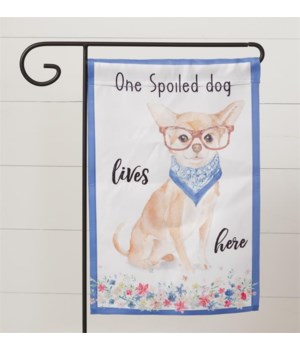 Flag - Playful Pups, One Spoiled Dog 19 in. x 12 in.