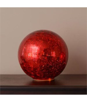 Lit Glass Ball - Large Red