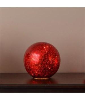 Lit Glass Ball - Medium Red