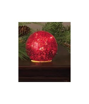 Lit Glass Ball - Small Red
