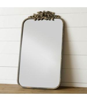 Metal Distressed Floral Mirror