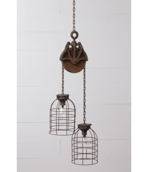 Pendant Light - Cage Dome Pulley