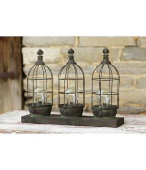 Led Lamp - Vintage Wire Triple Birdcage Style 15 in. x 12 in. x 3.5 in.