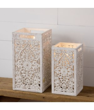 Lanterns - Carved Wood with Glass Candle Shade