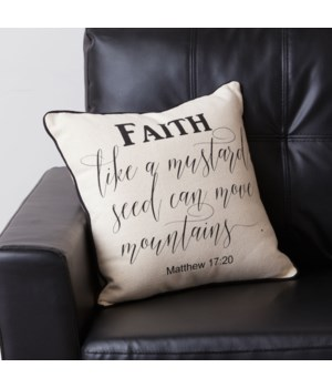Pillow - Faith, Matthew 17:20 15.5 in. x 15.5 in.