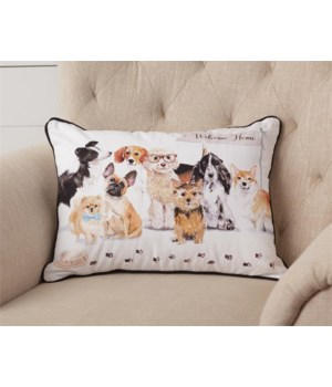 Playful Pups - Welcome Home Pillow 18 in. x 14 in.