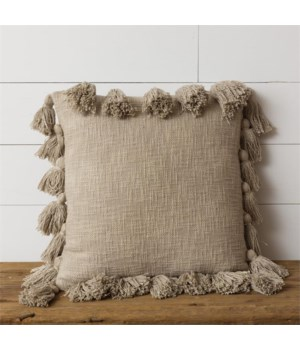 Pillow - Taupe Tassels