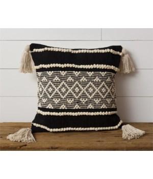 Pillow - Diamond with Tassels, Black