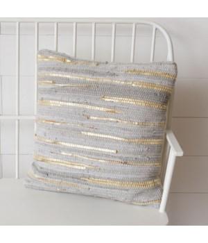 Chindi Pillow - Light Grey And Gold