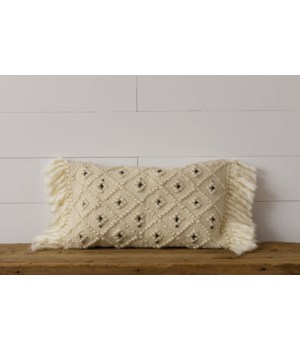 Woven Pillow With Shag