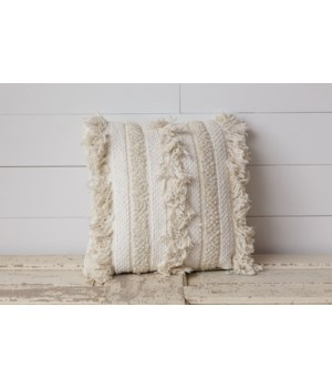 Pillow - Cream Woven with Fringe and Sequins