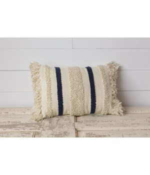 Pillow - Woven with Navy Blue Stripes and Sequins