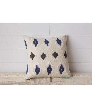 Pillow - Embroidered Blue, Gray, and Cream