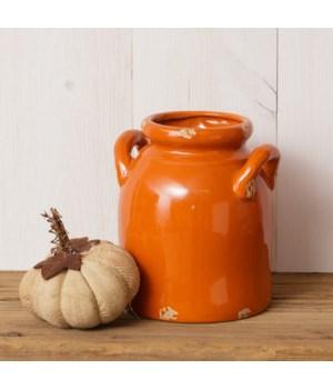 Pottery - Orange Crackle Crock, Sm