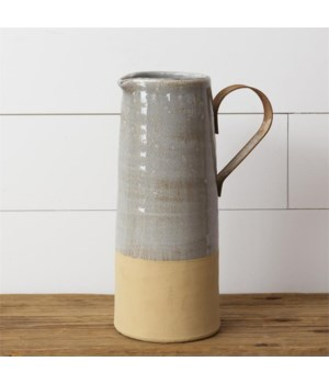 Pottery - Large Pitcher, Metal Handle