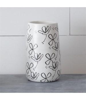 Vase - Black And White Flower