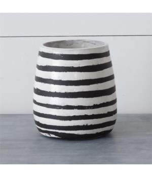 Cement Vase - Black And White Striped