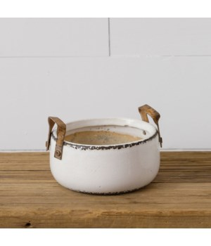 Pottery - Distressed With Metal Handles, Sm
