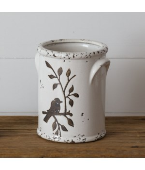 Pottery - Birds N Branches Crock, Large