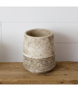 Planter - Antiqued Cement, Sm