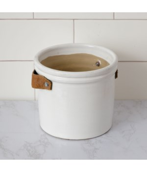 Pottery - Crock With Leather Handles