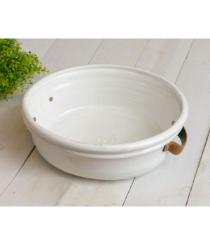 Pottery - Bowl With Leather Handles, Lg