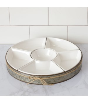 Ceramic 6 Section Dip Bowl Set with Metal Tray