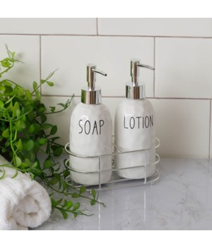 Lotion & Soap Dispensers with Metal Caddy