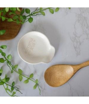 White Cottage Ceramic Spoon Rest