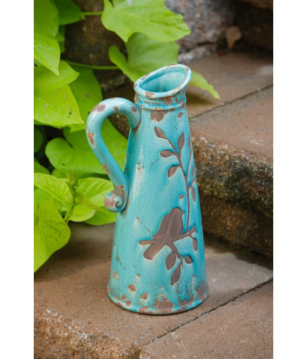 Pottery - Birds N Branches Pitcher Turquoise