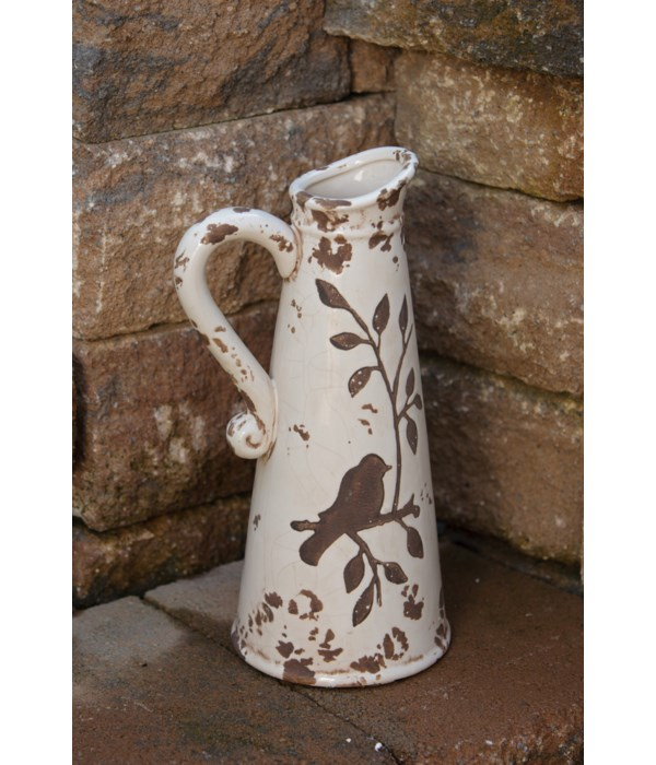 Pottery - Birds N Branches Pitcher White