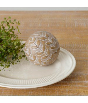 Decorative Accent Ball With Leaf Pattern