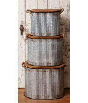 Tins - Oval Rope Handles Lid
