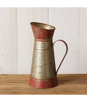 Pitcher - Red and Galvanized